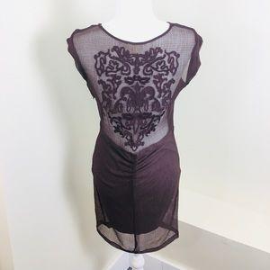 Silence + Noise Sheer Back Embroidered Short Dress